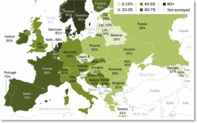 <b>Muslim i familien:</b> Kartet viser prosentandelen blant de spurte som svarer at de er villige til å akseptere en muslim som familiemedlem.