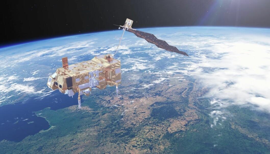 Den nye værsatellitten skal gå i bane rundt jorden fra pol til pol, ved litt over 800 kilometers høyde. (Illustrasjon: ESA)