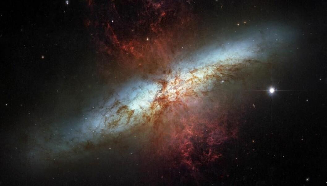 M82 er et eksempel på en veldig aktiv galakse der det dannes og eksploderer massevis av stjerner. Herfra sendes det ut galaktiske vinder av hydrogengass som er markert som røde områder på bildet.  (Foto: NASA/ESA)