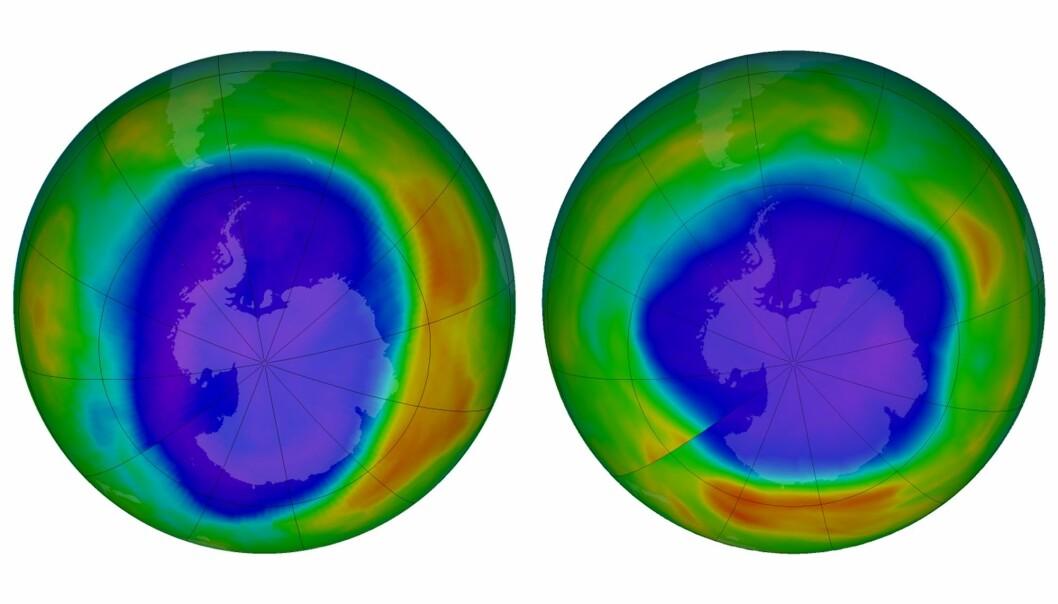 Bilder fra NASA viser det såkalte ozonhullet over Antarktis i september 2000 (til venstre) og i samme måned i år. Det vil fortsatt ta flere tiår før hullet er borte, men forskere sier forbudet mot ozonnedbrytende kjemikalier virker. (Foto: NASA / AP / NTB scanpix)