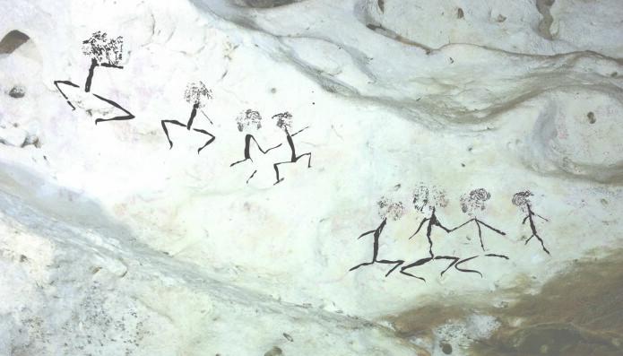 Et eksempel på menneskefigurene som kan dateres til å være fra mellom 20 000 og 13 000 år siden. (Bilde: Pindi Setiawan)