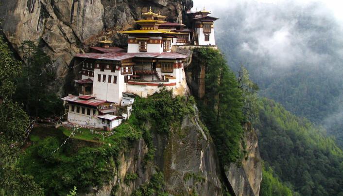 Taktshang-klosteret i Butan. Det ble påbegynt på slutten av 1600-tallet. (Bilde:  Douglas J. McLaughlin/CC BY 2.5)