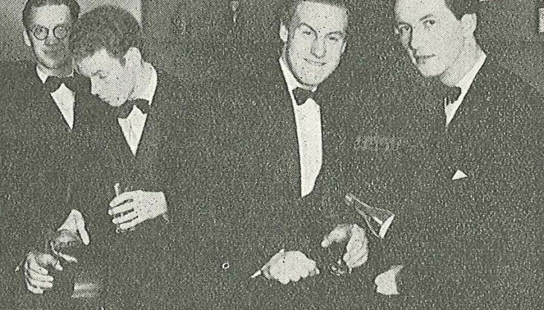 Helt til høyre i bildet står Arne Domnérus, en svensk musiker som lagde en jazzversjon av Norges nasjonalsang. Den ble forbudt i Norge. Men hvorfor? (Foto: Orkesterjournalen/Wikimedia commons)