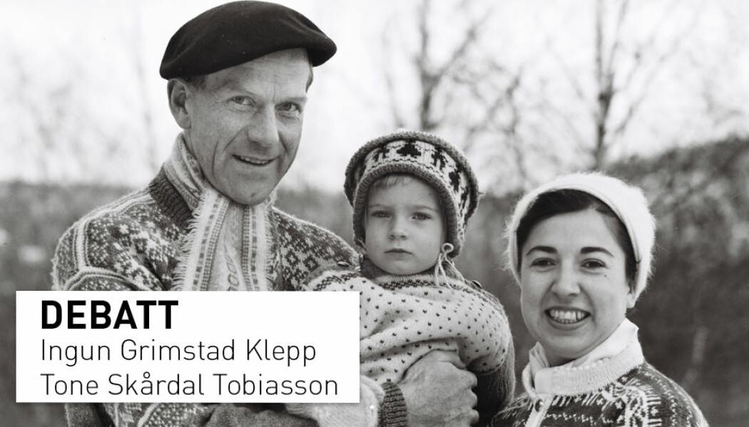 Faren til Tone Skårdal Tobiasson (til venstre) er bare en av mange som har eid en rundstrikkemaskin. Ifølge kronikkforfatteren hadde han så store føtter at han ikke fikk kjøpt store nok sokker, derfor måtte de strikkes. (Foto: privat)