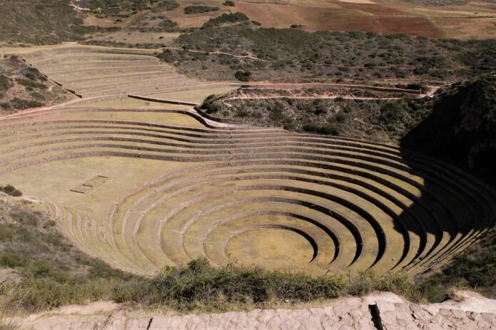 I disse terassene i Moray nordvest for Cusco i Peru, spekuleres det i om inkaene hadde et slags botanisk laboratorium. Det er konstruert slik at temperaturforskjellen kan være opptil 15 grader. (Foto: Eivind Torgersen)