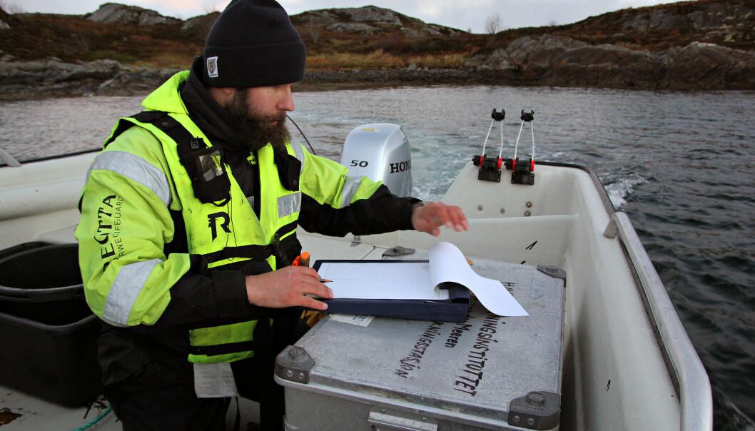 Tekniker Michal Rejmer noterer ned all fangsten (Foto: Anders Jakbosen/Havforskningsinstituttet)