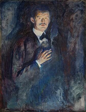 Dette bildet malte Edvard Munch av seg selv da han var 32 år. Det henger på Nasjonalmuseet i Oslo.