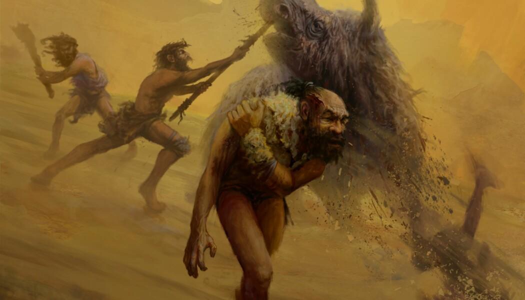 En illustrasjon som viser hvordan neandertalere kan ha jaktet i nærkamp med for eksempel spyd. (Bilde: Gleiver Prieto & Katerina Harvati)