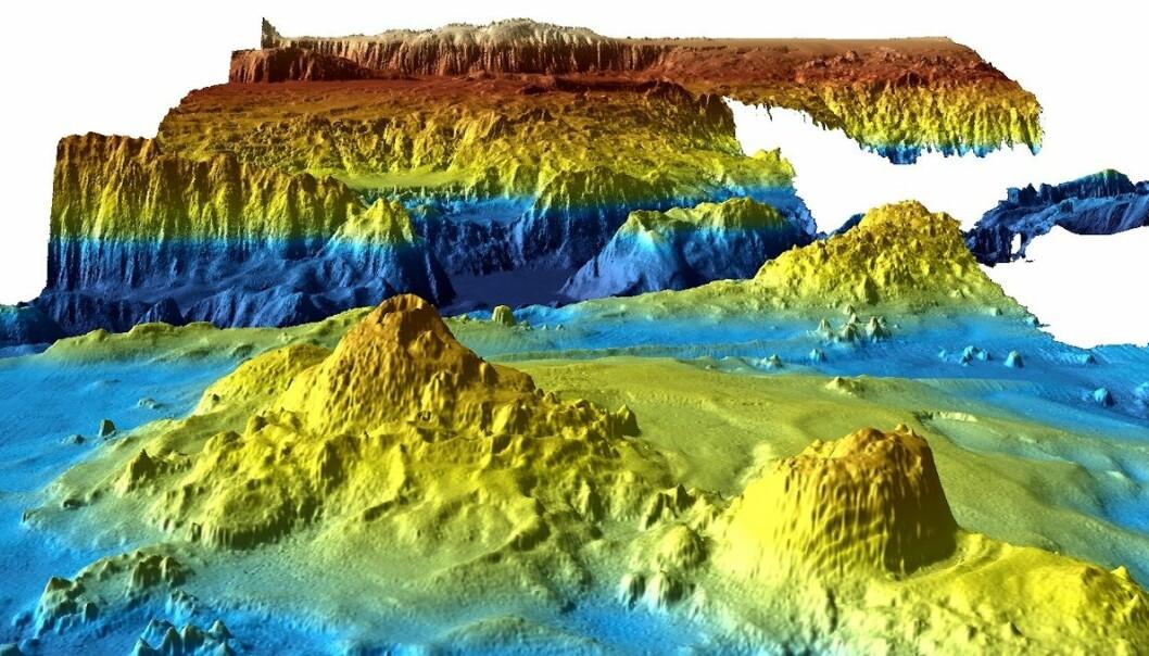 Dataene fra letingen avdekker undersjøiske vulkaner, dype daler og lange åsrygger, og forskerne mener kartleggingen gir ny innsikt om hva som skjuler seg i dypet.  (Illustrasjon: Geoscience Australia, Reuters, NTB scanpix)