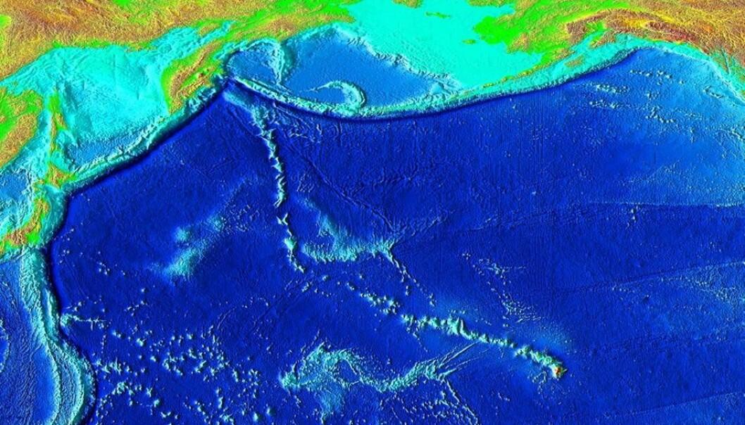 Denne undersjøiske fjellkjeden har en helt enestående knekk på midten. Hva forårsaket den? (Illustrasjon: National Geophysical Data Center/USGS)