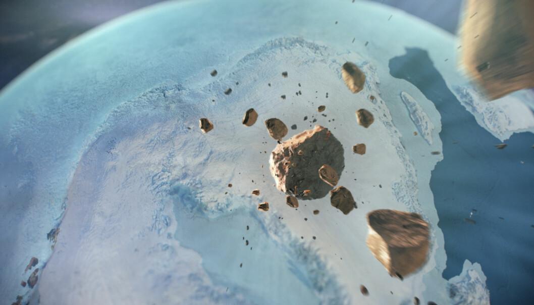Slik ser en kunstner for seg at denne asteroiden kan ha sett ut før den slo ned på Grønland. (Bilde:Natural History Museum of Denmark, Cryospheric Sciences Lab, NASA Goddard Space Flight Center, Greenbelt, MD, USA)