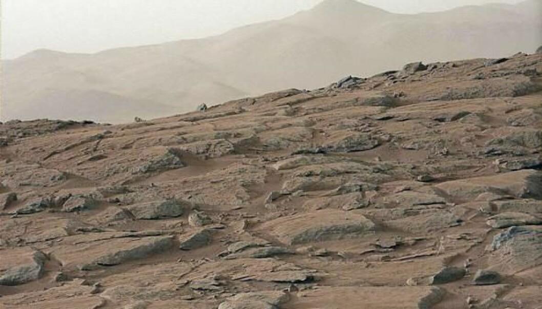 Det ser fredelig ut på overflaten av Mars. Men en ny studie tyder på at forholdene på Mars vil være den rene giften for bakterier.  (Foto: NASA/JPL-Caltech/MSSS)