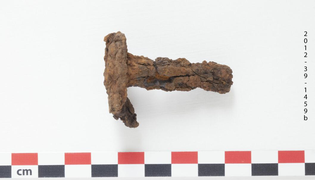 Rustne nagler er det som er igjen etter vikingbåtene fra Kolkuós på Island. Finner forskerne ut av hvor naglene ble laget, kan de kanskje også finne ut av hvor vikingbåtene faktisk stammer fra. (Foto: Karine Fure Andreassen, NIKU)