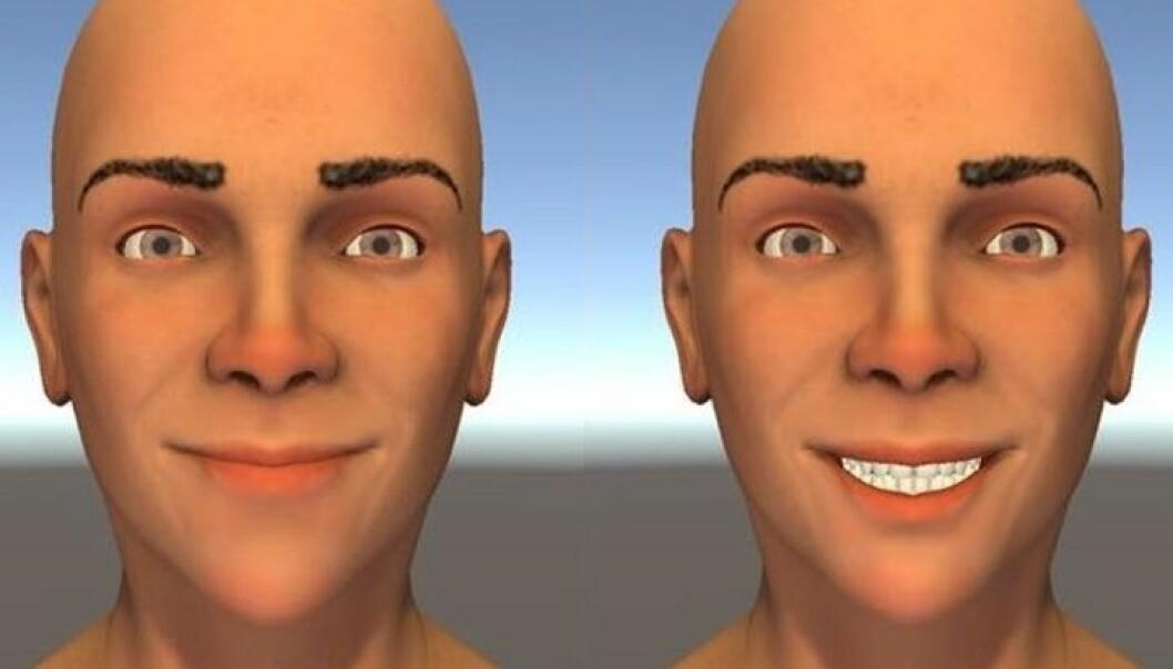Smilet til venstre er bedre enn det til høyre, synes forsøkspersonene. Folk som prøver å uttrykke glede med smilet til høyre, kan fort bli misforstått. (Foto: Helwig mfl. 2017)
