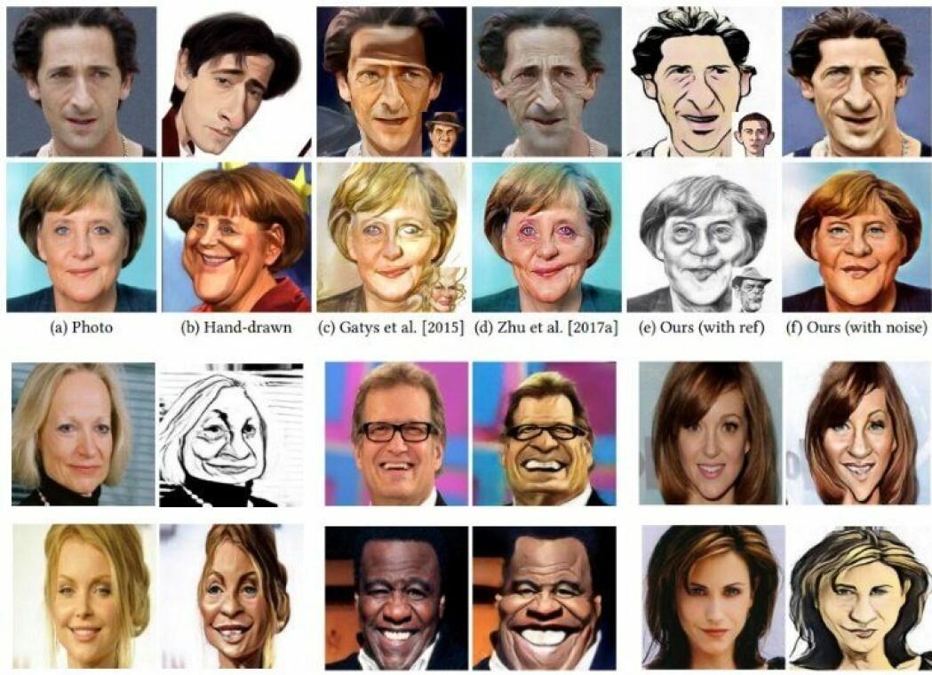 Her kan du se noen av karikaturtegningene som dataprogrammet til forskeren Kaidi Cao har laget. (Illustrasjon: Kaidi Cao)