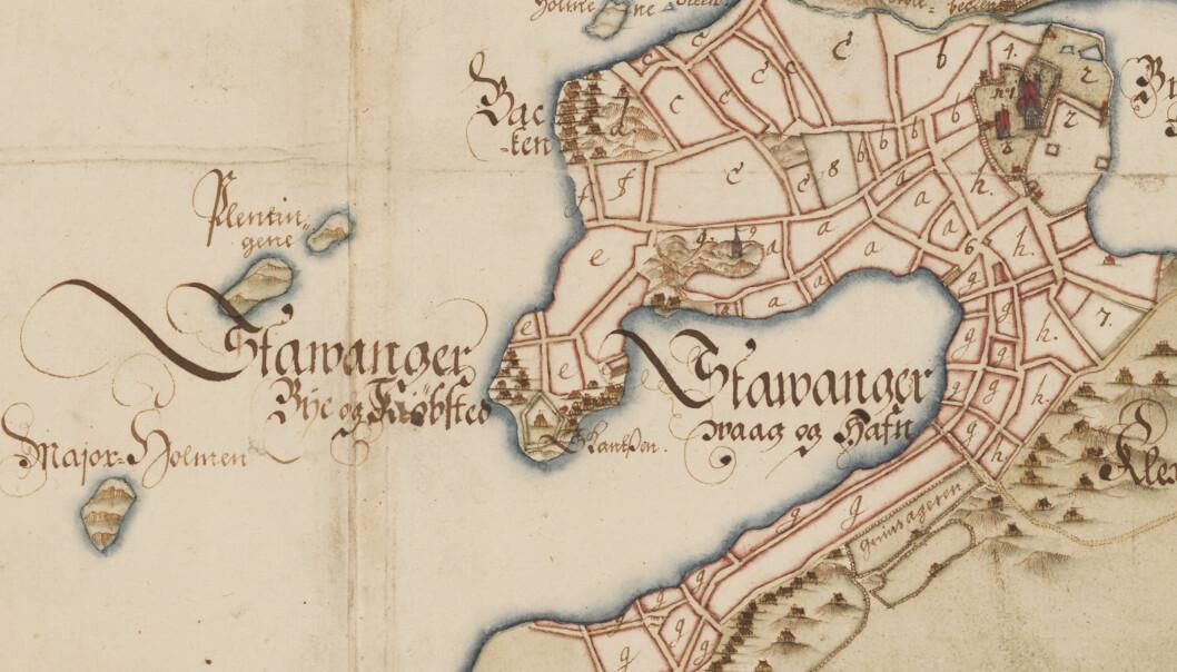 Når ble egentlig Stavanger en by? Nye funn kan tyde på at den gikk fra gård til handelsplass tidligere enn det forskere tidligere har trodd. Kartet er fra 1742 og viser den daværende bebyggelsen i Stavanger.  (Foto: Gjengitt med tillatelse fra Det Kongelige Bibliotek i København)