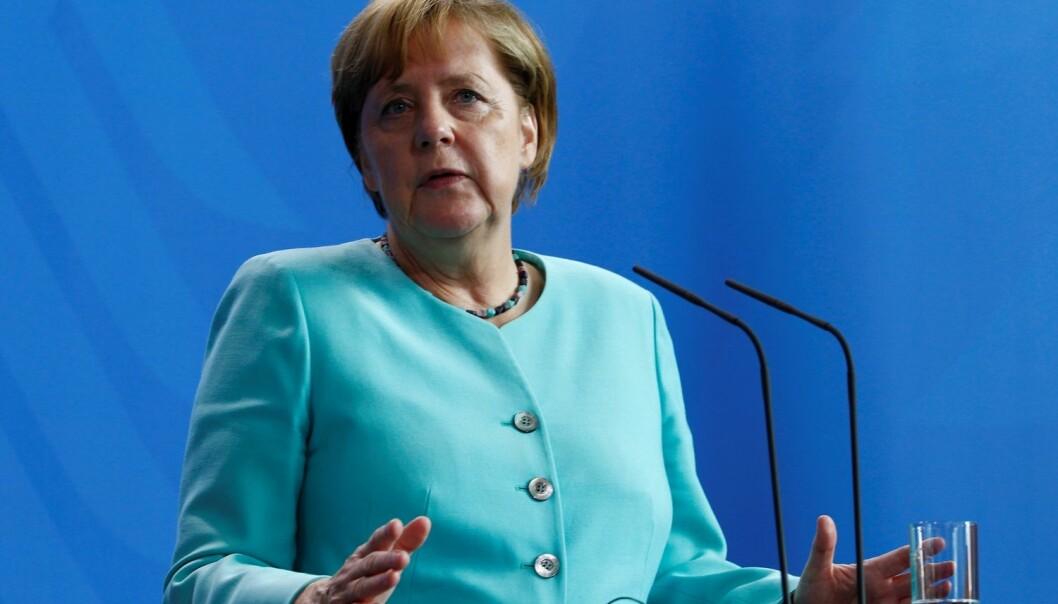 Det tyske vertskapet for G20-møtet har lagt opp til at stats- og regjeringssjefene diskuterer klima fredag ettermiddag. Men forhandlingene om ordlyden i slutterklæringen kan i utgangspunktet fortsette helt til toppmøtet avsluttes dagen etter. Her snakker forbundskansler Angela Merkel i Berlin denne uka.  (Foto: REUTERS/Michele Tantussi / NTB scanpix)