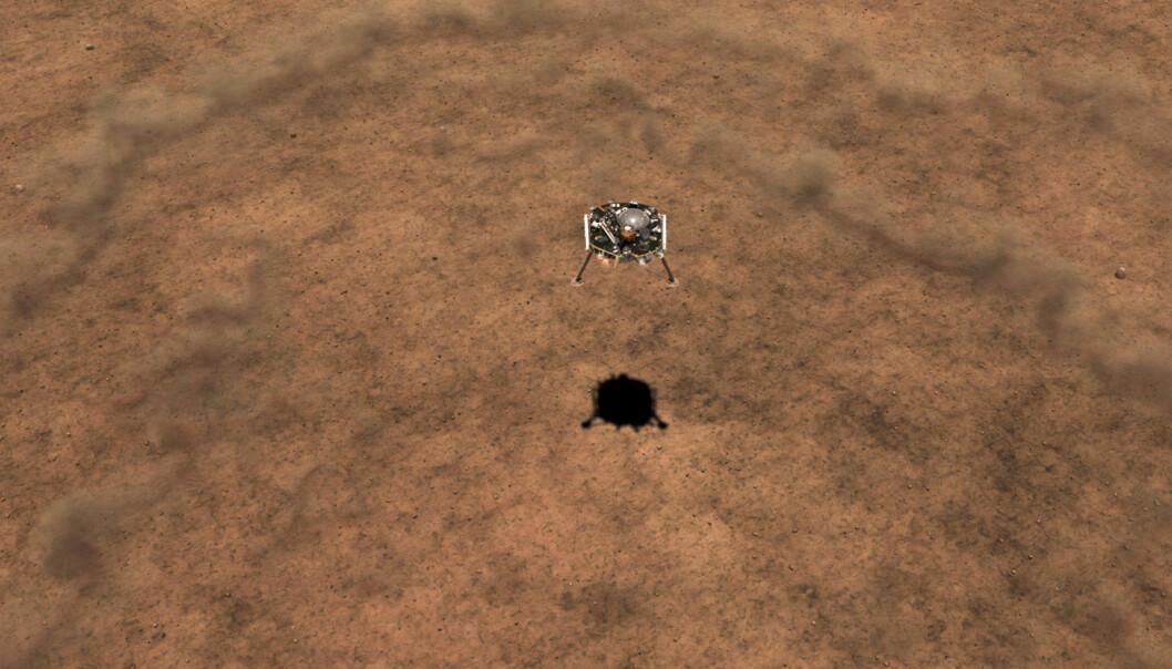 Blåser opp støv i øde ørkenlandskap. Slik ser NASA for seg at det vil se ut når InSight lander på Mars. (Illustrasjon: NASA/JPL-Caltech)