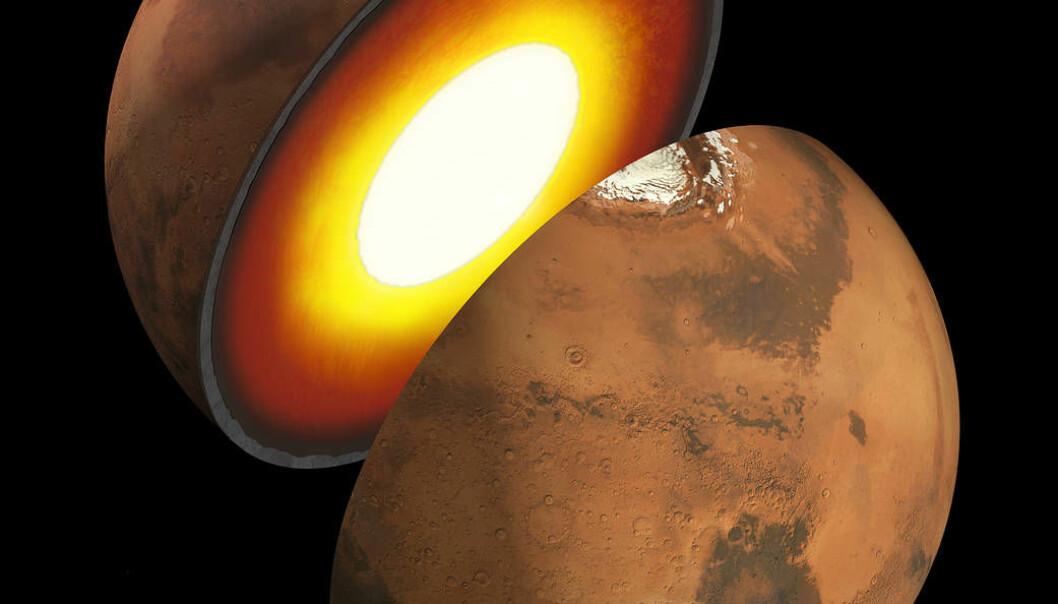 Forskerne er gode til å gjette på hva som finnes inni Mars, men egentlig vet de ikke. (Illustrasjon: JPL, NASA)