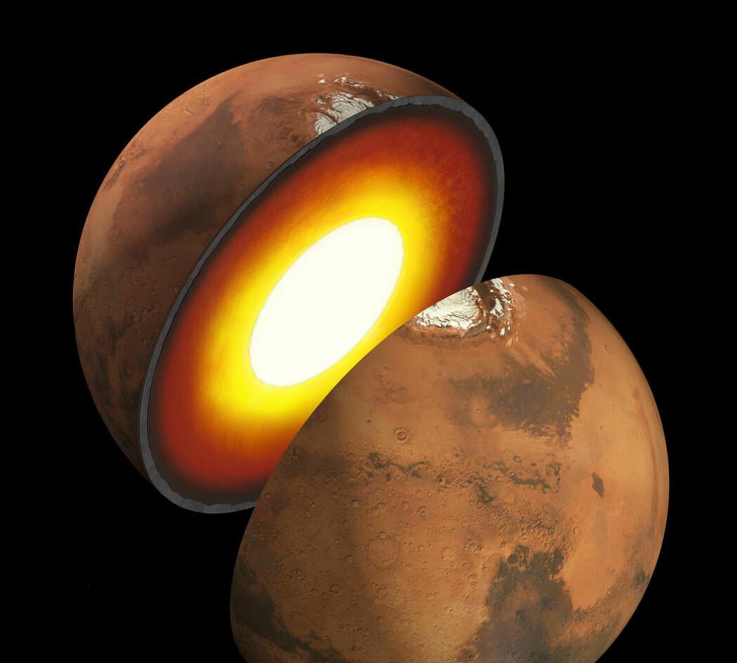 Forskerne har en del kvalifiserte gjetninger om hva som finnes inni Mars, men egentlig vet de ikke. (Illustrasjon: JPL, NASA)