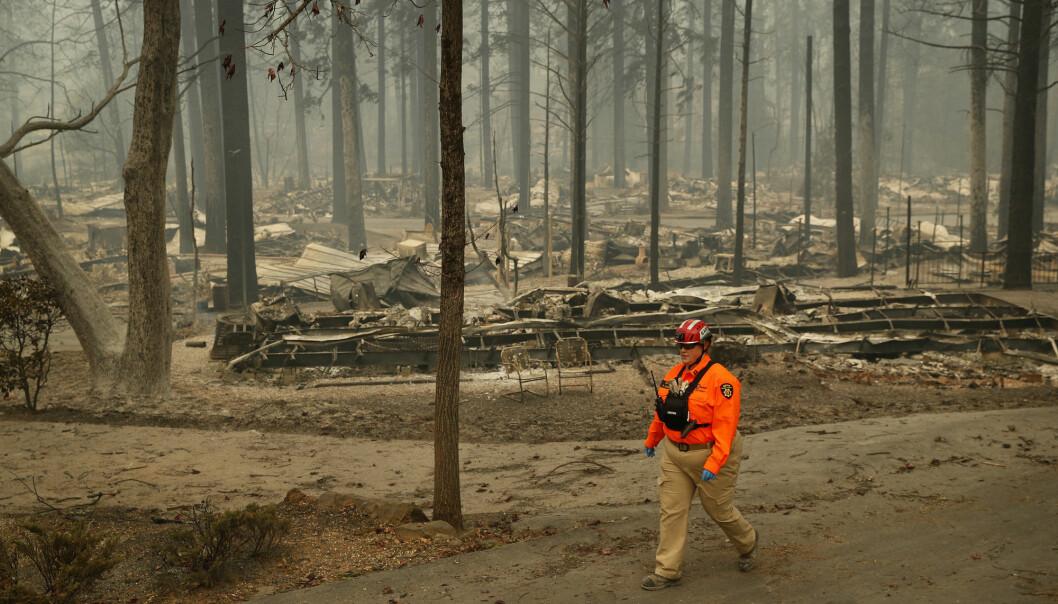 En ny, omfattende føderal rapport advarer om at ekstreme vær- og naturforhold i USA forverres som følge av klimaendringene. Bildet er tatt i forbindelse med skogbrannene i California. (Foto: John Locher / AP / NTB scanpix)