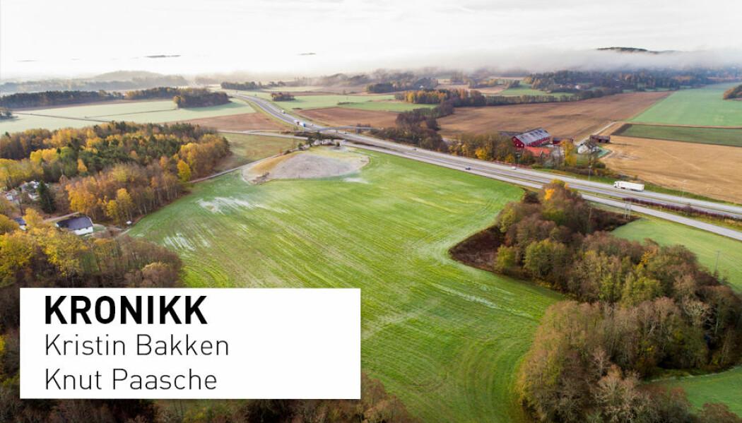 På Gjellestad, like ved E6 i Halden, har arkeologer funnet spor av et vikingskip. Funnet er gjort like nord for Jellhaugen, en grav som trolig stammer fra jernalderen. (Foto: Tore Meek / NTB scanpix)