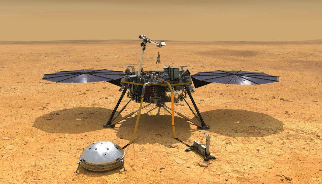 Her er en tegning av InSight. Det runde instrumentet foran er et seismometer. Planen er at det skal måle alle bevegelser i Mars-bakken i to år. (Illustrasjon: NASA/JPL-Caltech)