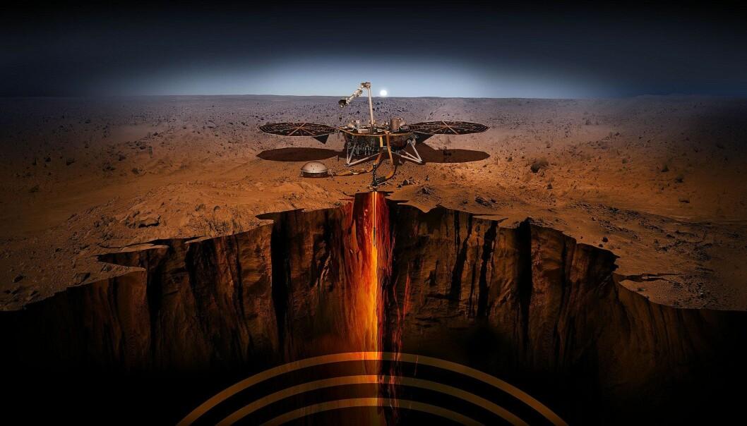 Slik ser en kunstner for seg at NASA skal gjøre undersøkelser på og under Mars' overflate. (Bilde: NASA/JPL)