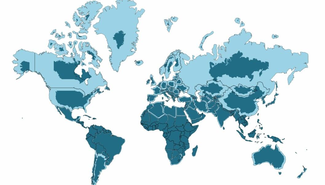 Den lyse fargen viser hvor store land er på vanlige verdenskart. Den mørke fargen viser hvor store land virkelig er, sammenlignet med hverandre. (Kart: neilrkaye/reddit)