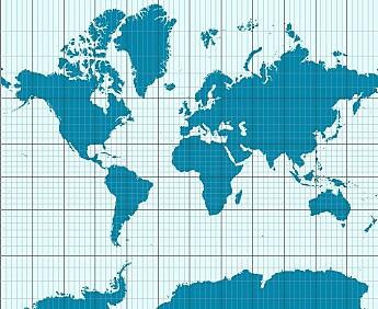Mercators verdenskart tar utgangspunkt i at Jorda er en sylinder. Men Jorda er jo i virkeligheten rund. En fordel med Mercators kart er at det viser konturene av landområder riktig. Den store ulempen er at proporsjonene blir feil, spesielt mot nord og sør på jordkloden. Både Grønland og Antarktis blir gigantiske. Afrika og India blir alt for små. (Bilde: CC BY-SA 3.0)