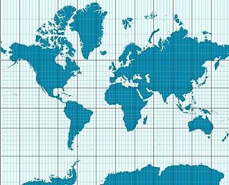 Hvis du tegner jordkloden på en ballong og sprekker den, ser du det selv. Det går ikke an å spikre den opp på veggen som en firkant uten at noen av landene blir strukket ut til altfor stor størrelse. Slik er det Mercators verdenskart også. Det blir mest feil helt nord og sør på jordkloden. Både Grønland og Antarktis blir gigantiske. Afrika og India blir altfor små. (Bilde: CC BY-SA 3.0)