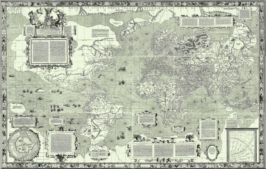 Gerhard Mercators aller første verdenskart lagde han i 1569. Det var en genial oppfinnelse. Legg merke til at han også har tegnet inn Amerika, fordi kontinentet da var blitt oppdaget av europeere. For 450 år siden var Australia ennå uoppdaget.