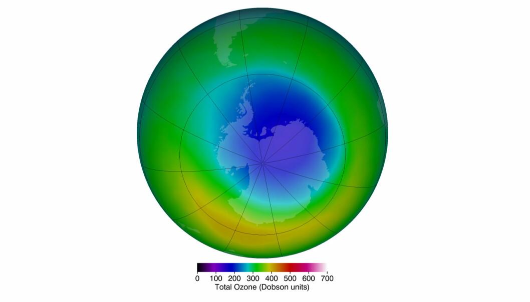 Hullet i Ozonlaget slik det så ut i oktober 2013. Det er ikke konstant, og det forsvinner mellom desember og september, før syklusen starter på ny.  (Bilde: NASA)