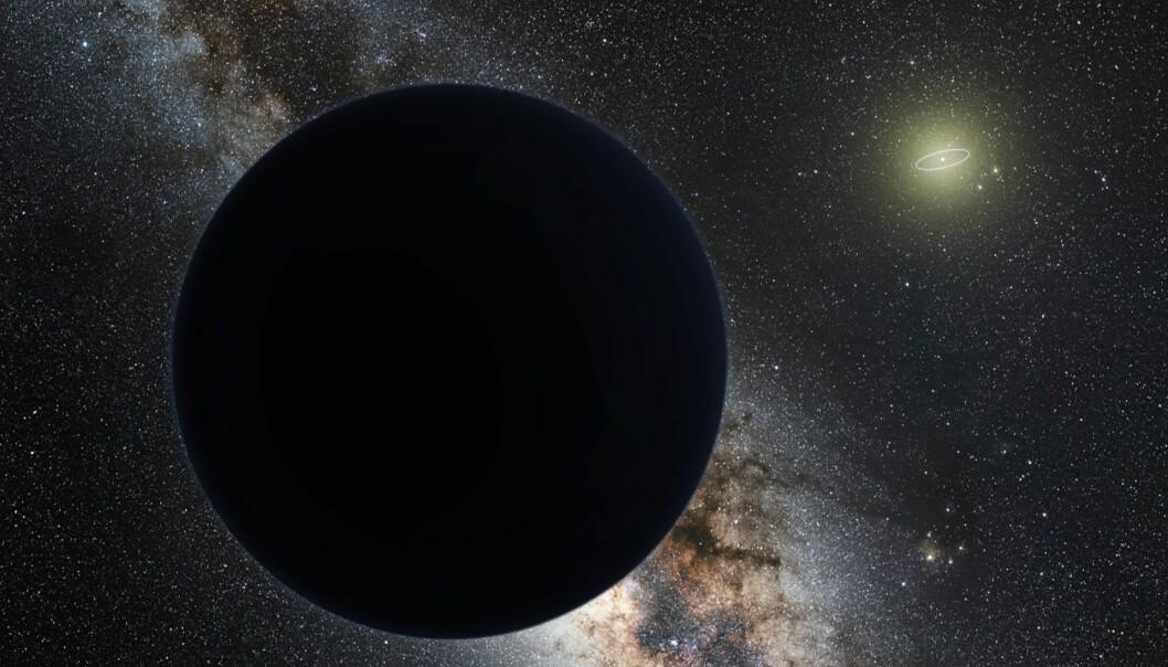 Planet ni, slik en kunstner ser den for seg. Solen sees til høyre i bildet, og den lille ringen representerer Neptuns bane.  (BildeTomruen, nagualdesign/ESO/CC BY-SA 4.0)