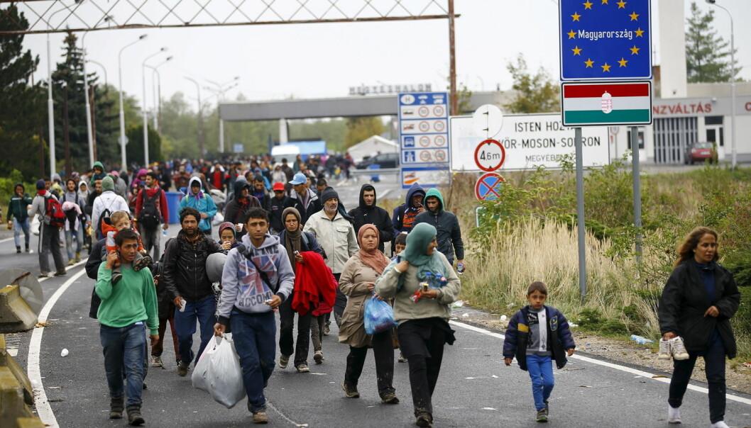 Grensen mellom Østerrike og Ungarn i september 2015, under det som har blitt kalt flyktningkrisen.  (Foto: Leonhard Foeger/Reuters)