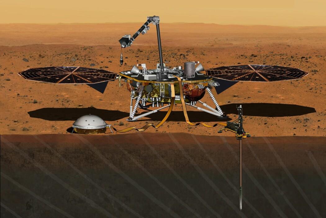 En kunstnerisk fremstilling av romsonden Insight. På bakken til venstre et seismometer som skal måle rystelser. I bakken til høyre en temperaturmåler som måler varmebølger. (Illustrasjon: NASA/JPL-Caltech)