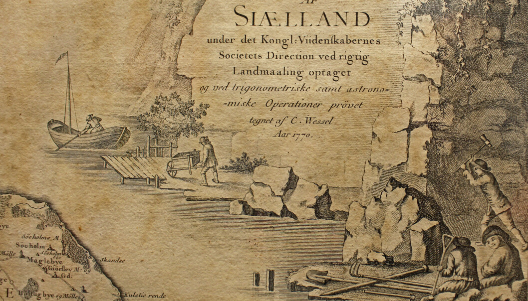 Detalj fra Caspar Wessels kart - et kobberstikk lagd etter Wessels håndtegnede original. (Foto: Bjarne Røsjø, UiO)