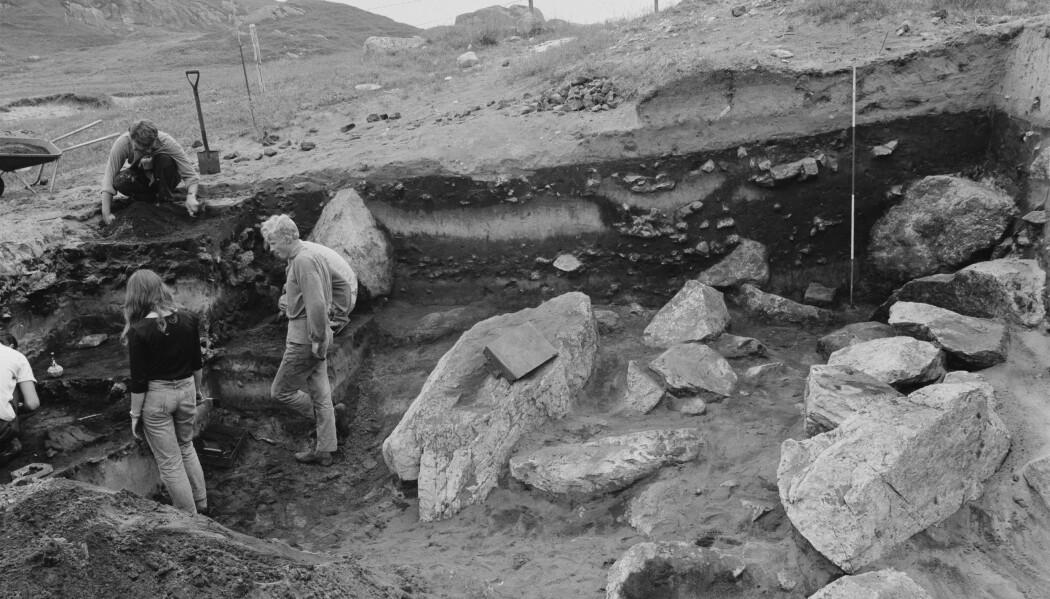 Fotoet er fra utgravningen av Slettabø i Rogaland i 1977. Dette var en steinalderboplass som fikk veldig stor betydning for forståelsen av yngre steinalder i Norge. På bildet ser man de tykke kulturlagene (de mørke, kullholdige lagene) som er avgrenset av lag med flyvesand. Undersøkelsen av boplassen ble ledet av Arne Skjølsvold. (Foto: hentet fra www.unimus.no)