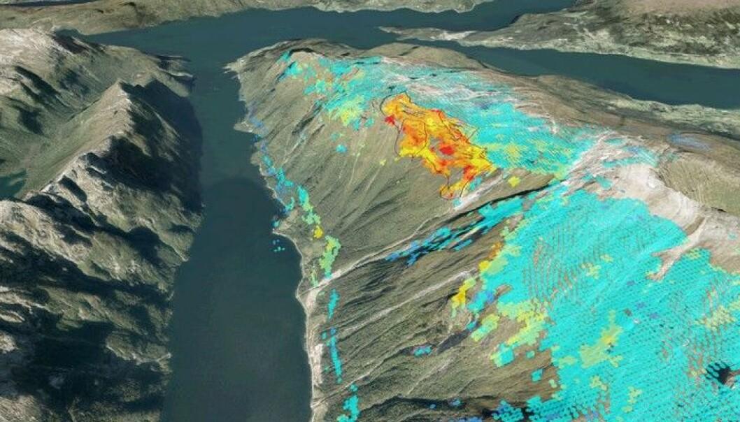Osmundneset er et eksempel på et ustabilt fjellparti som ble oppdaget ved hjelp av InSAR-prosjektet. Fargene viser hvor fort ulike deler av fjellpartiet synker. Blått betyr ingen bevegelse, mens rødt er størst bevegelse. (Skjermbilde fra karttjenesten InSAR Norge)