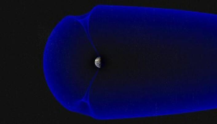 Jordas magnetfelt omslutter planeten vår som en boble. To steder har det «hull», hvor partikler fra sola kan strømme ned. Dette traktformede området kalles «cusp». (Illustrasjon: Andøya Space Center/Trond Abrahamsen)