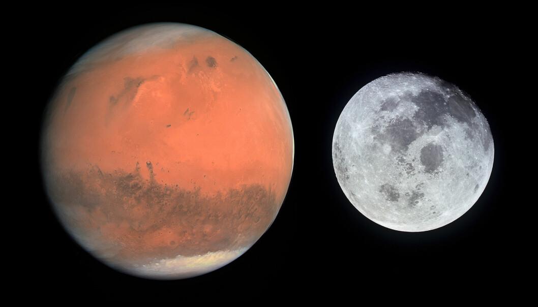 Mars eller månen. Hva blir det neste steget? De er ikke i riktig størrelse i forhold til hverandre. (Foto: NASA/Kollasje)