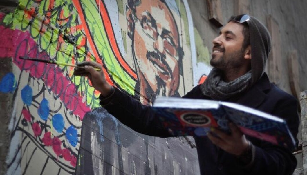 Ammar Abo Bakrs malerier var fremtredende i Kairo under under opprøret i 2011 - 2012. (Foto: Jonathan Rashad / Flickr).