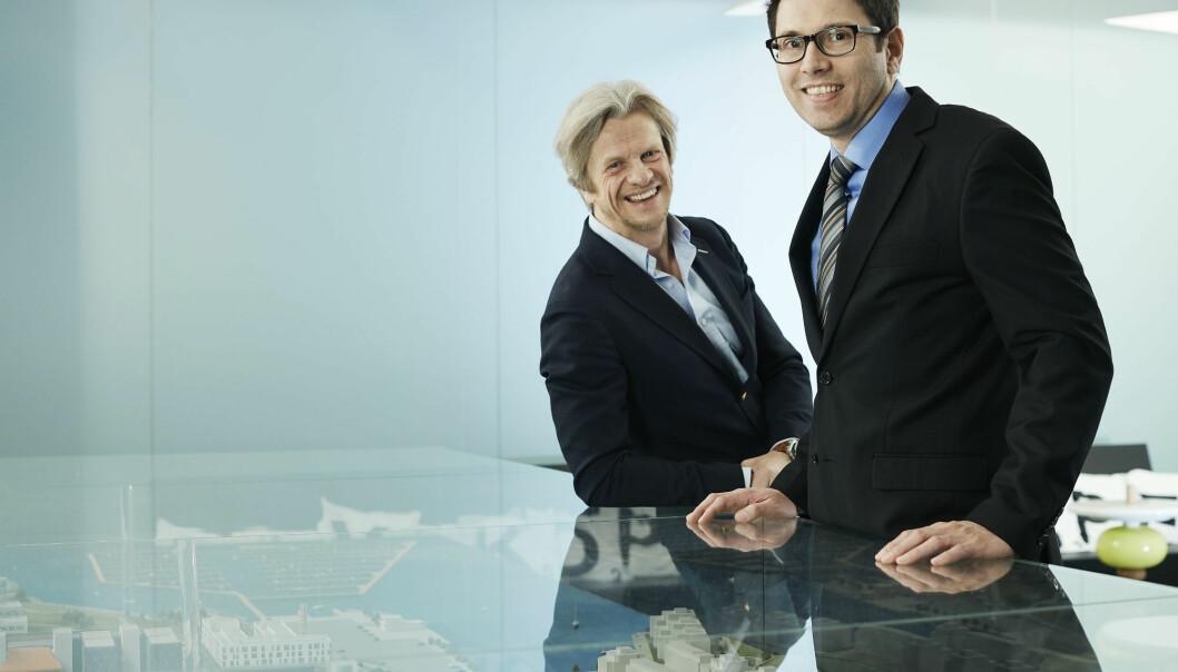 Tor Skeie og Sven-Arne Reinemo, CTO og CEO av Fabriscale. (Foto: Bård Gudim)