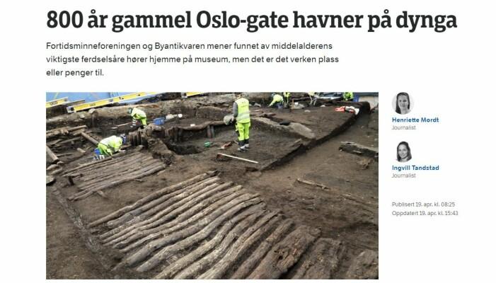 Funnet av Bispeallmenningen omtales på Østlandssendingen. (Foto: Skjembilde/NRK.no)
