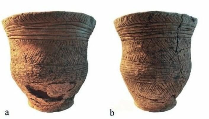 Klokkebegeret som ble funnet i graven til Ava, sett fra to ulike sider. (Foto fra forskningsartikkelen)