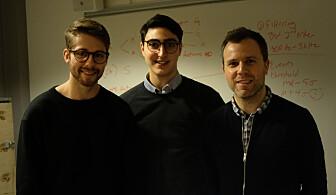 Haakon Haraldsen Roen, Vako Varankian og Stefano Nichele ønsker at barn skal omgås mer med roboter. (Foto: Karoline Spanthus Bjørnfeldt)