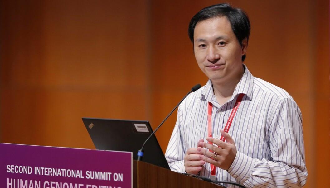 Den kinesiske forskeren He Jiankui, fotografert under en medisinsk konferanse i Hongkong i slutten av november. (Foto: Kin Cheung / AP / NTB scanpix)