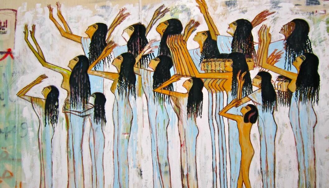 Flere gatekunstnere trakk inn gammel egyptisk kulturhistorie i sine verk. Alaa Awad brukte var en av dem som brukte slike referanser. (Foto: Gigi Ibrahim/ Flickr CC BY 2.0)