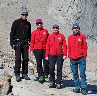 Joachim Jacobs (Universitetet i Bergen), Synnøve Elvevold (NPI), Ane K. Engvik (NGU) og Per Inge Myhre (NPI) deltok på den norske geologi-ekspedisjonen arrangert av Norsk Polarinstitutt til Dronning Maud Land i sørsommeren 2018 (foto: Christina A. Pedersen).