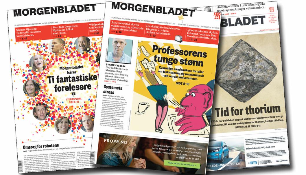 Hanne Østli Jakobsen får prisen for å skrive om alt fra sexpress og maktmisbruk i akademia til thorium og fantastiske forelesere. (Forsider fra Morgenbladet)